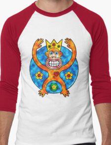 Orange Ape King (Clouds) Men's Baseball ¾ T-Shirt