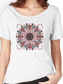 Flowers, leaves, butterflies and patterns mandala in red, B&W Women's Relaxed Fit T-Shirt