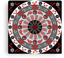 Flowers, leaves, butterflies and patterns mandala in red, B&W Canvas Print