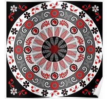 Flowers, leaves, butterflies and patterns mandala in red, B&W Poster