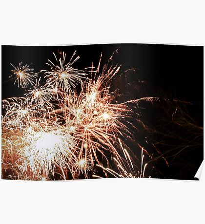 New Years fireworks on a cold night Poster