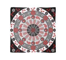 Flowers, leaves, butterflies and patterns mandala in red, B&W Scarf