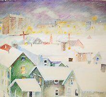 White Snowy Storm Green Street Syracuse New York by photoartsimage