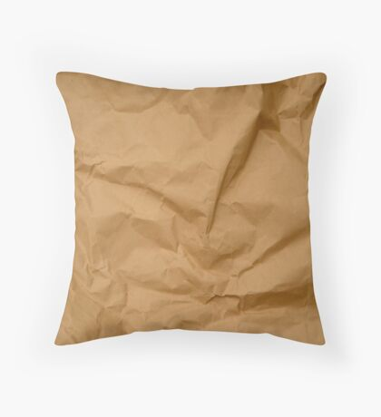 Crumpled Brown Parcel Paper Pattern Texture Background Throw Pillow