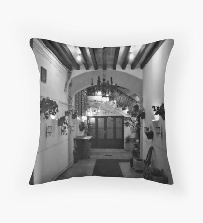 Down the hall, table for two. Throw Pillow