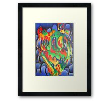 Buxom Nude Woman Splashed With Paint Framed Print