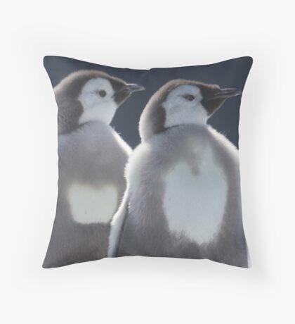 Emperor chicks Throw Pillow