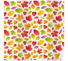 Autumn Leaves Seamless Pattern Poster