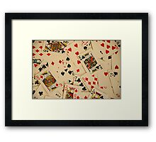 Scattered Pack of Playing Cards Hearts Clubs Diamonds Spades Pattern Framed Print