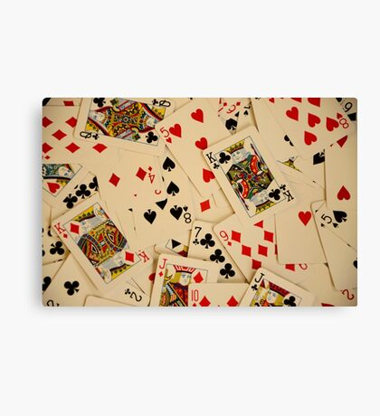 Scattered Pack of Playing Cards Hearts Clubs Diamonds Spades Pattern Canvas Print