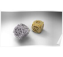 Stainless and Gold Plated Steampunk Dice Poster