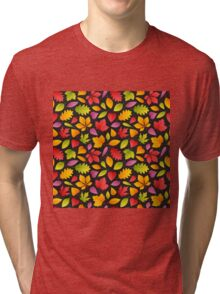 Autumn Leaves Pattern Dark Tri-blend T-Shirt
