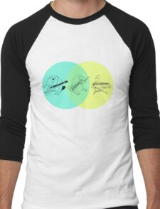 Keytar Platypus Venn Diagram Men's Baseball ¾ T-Shirt