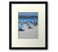 Blue Striped Sun Parasols on White Sandy Beach of Malta Framed Print
