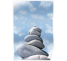 balanced cloudy rocks Poster