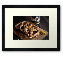 Authentic German Pretzels with Beer Stein and Mustard on Wood Framed Print