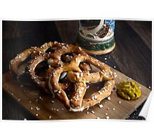 Authentic German Pretzels with Beer Stein and Mustard on Wood Poster