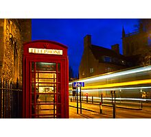 Red Phone Booth - Cambridge, England Photographic Print