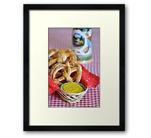 Salt Pretzels Mustard Beer Stein on Red Checker Tablecloth Framed Print