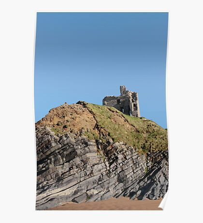 Ballybunions castle on the cliffs Poster