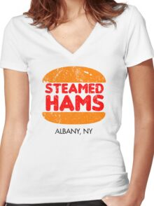 Retro Steamed Hams Women's Fitted V-Neck T-Shirt