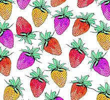 Bright Colorful Watercolor Fruity Strawberries by Blkstrawberry