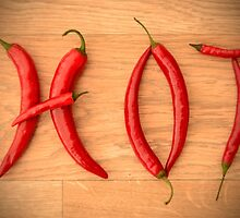 Cayenne Red Peppers Typographic Food Spelling HOT by HotHibiscus