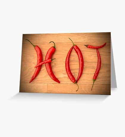 Cayenne Red Peppers Typographic Food Spelling HOT Greeting Card