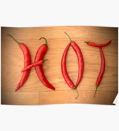 Cayenne Red Peppers Typographic Food Spelling HOT Poster