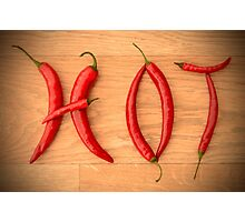 Cayenne Red Peppers Typographic Food Spelling HOT Photographic Print