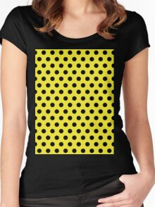 Polkadots Yellow and Black Women's Fitted Scoop T-Shirt