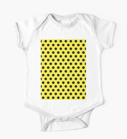 Polkadots Yellow and Black One Piece - Short Sleeve