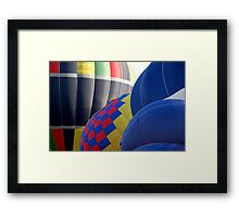 Closeup Patterns and Curves of Tethered Hot Air Balloons Framed Print