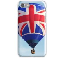 Red White Blue British Union Jack Flag Hot Air Balloon in Flight iPhone Case/Skin