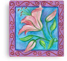 FLOWERTIME 2 - AQUAREL AND COLOR PENCILS Canvas Print