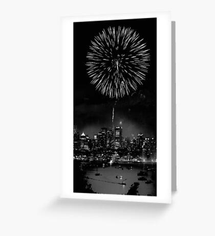 Night Flower over Smokey City Greeting Card