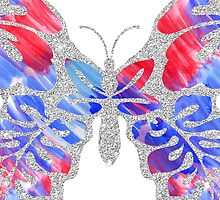 Red, White, and Blue Watercolor Butterfly by Blkstrawberry