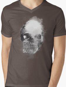 Calavera blanca y negra Mens V-Neck T-Shirt
