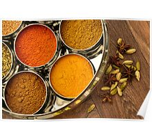 Bright Orange Yellow Asian Chef Silver Indian Spice Pots Poster