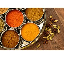 Bright Orange Yellow Asian Chef Silver Indian Spice Pots Photographic Print