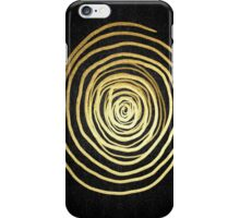 Painted Spiral Swirl in Faux Sparkly Gold on Black iPhone Case/Skin