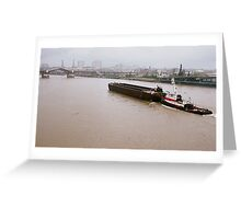 River Barge Heading Downstream Greeting Card