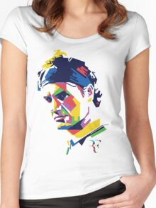 Roger Federer art Women's Fitted Scoop T-Shirt