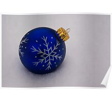 Blue Ornament on Snow Poster