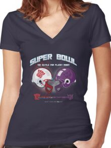 Intergallactic Super Bowl Women's Fitted V-Neck T-Shirt