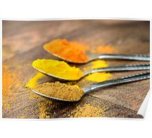 Warm Orange and Yellow Indian Cooking Spices on Silver Spoons Poster