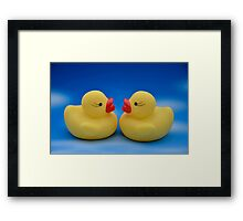 Cute Kids Bath Time Yellow Rubber Ducks Blue Sky Framed Print