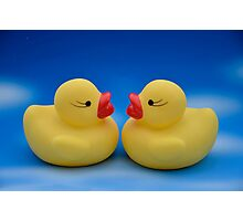 Cute Kids Bath Time Yellow Rubber Ducks Blue Sky Photographic Print