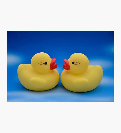 Cute Kids Bath Time Yellow Rubber Ducks on Blue Sky Photographic Print