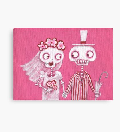Pink Skelly Bride and Groom Canvas Print